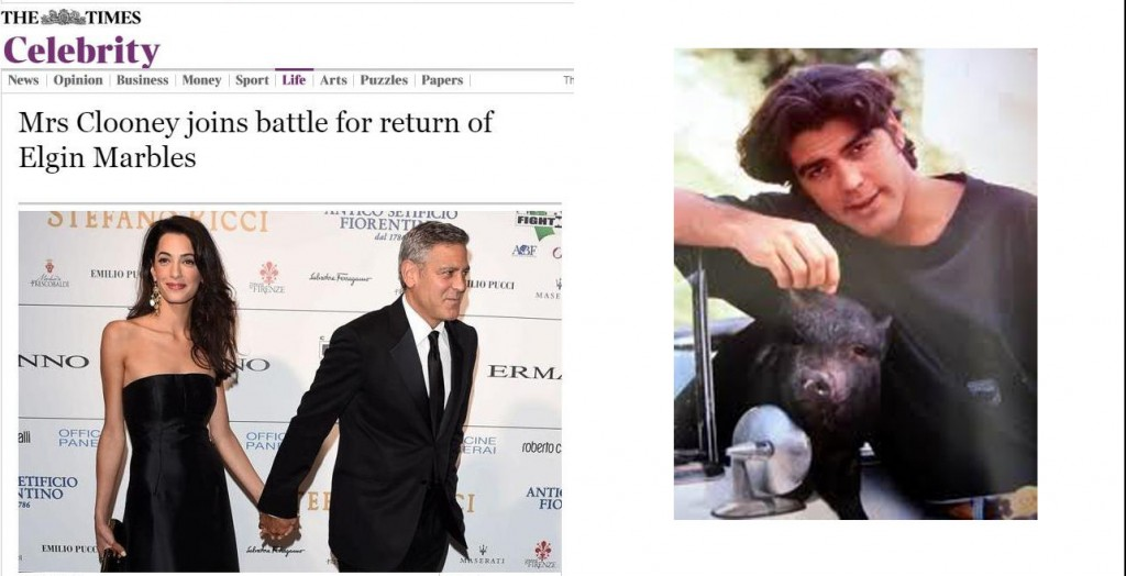 Left: Amal and George Right: George living it up as a wild batchelor
