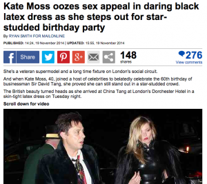 Kate Moss oozes sex appeal in daring black latex dress   Daily Mail Online