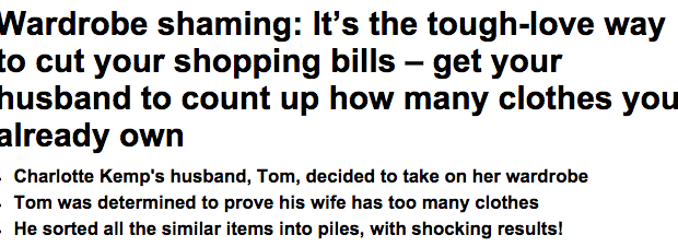 Wardrobe shaming Its the tough love way to cut your shopping bills get your husband to count up how many clothes you already own   Daily Mail Online