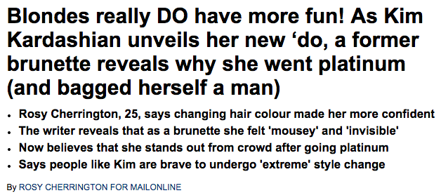 As Kim Kardashian unveils her new blonde hair  a former brunette reveals why she went platinum   Daily Mail Online