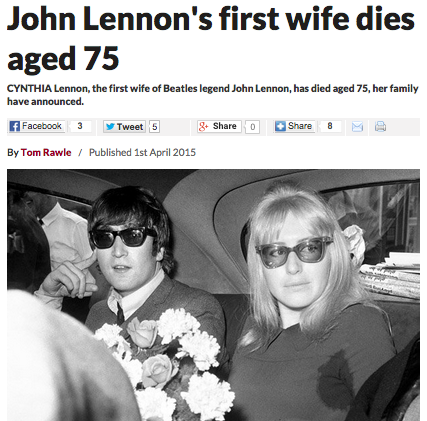 John Lennon s first wife dies aged 75   Latest News   Breaking UK News   World News Headlines   Daily Star