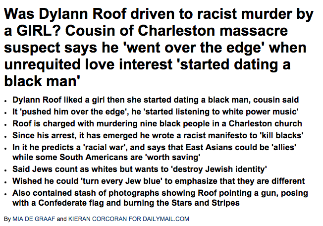 Charleston shooter Dylann Roof s unrequited love interest  dated a black man     Daily Mail Online