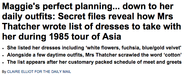 Secret files reveal Margaret Thatcher s list of dresses to take on 1985 tour of Asia   Daily Mail Online