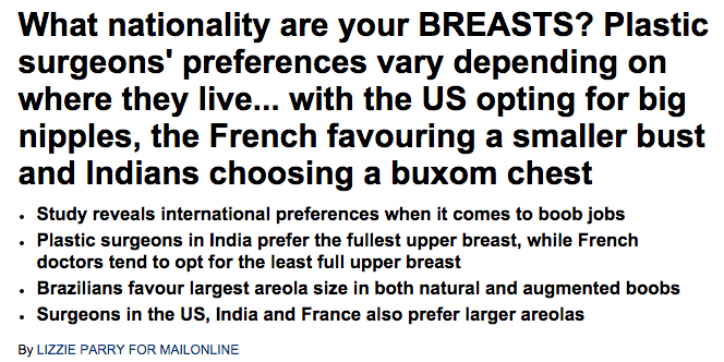 What nationality are your BREASTS  Surgeons  preferences vary   Daily Mail Online