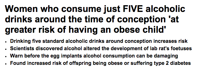 Women who consume just FIVE alcoholic drinks around the time of conception  at greater risk of having an obese child    Daily Mail Online