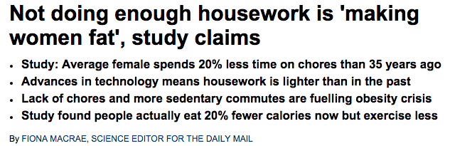 Lack of housework is making women fat study claims   Daily Mail Online