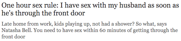 One hour sex rule I have sex with my husband as soon as he s through the front door Telegraph